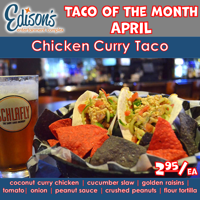 april taco of the month chicken curry taco